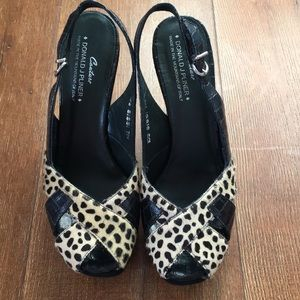 Donald J Pliner Cheetah Print Black Wedges